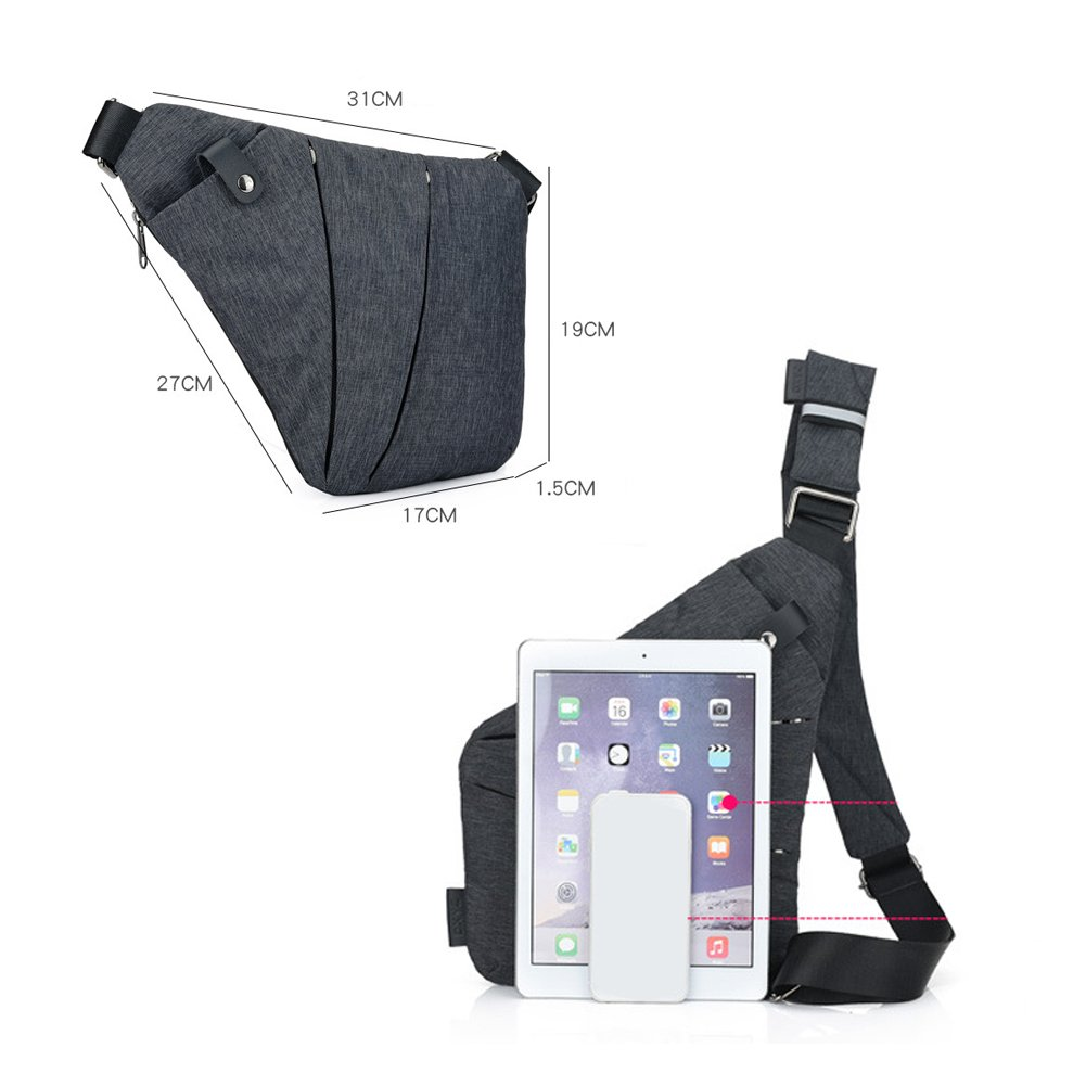 Right Shoulder Sling Backpack Men Chest Pack Polyester Messenger Bag Anti-theft Business Purseright) by WUYAN93 (Image #2)