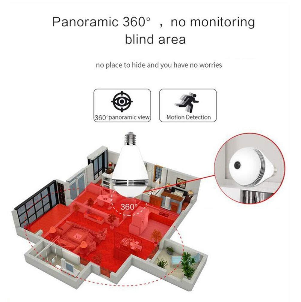 Bombilla Cámara 1080P HD, Bombilla Cámara Espía Panorámica Inalámbrica de 360°, Bombilla Cámara de Vigilancia Wifi, IP Bombilla Cámara, Cámara Espía Tipo ...