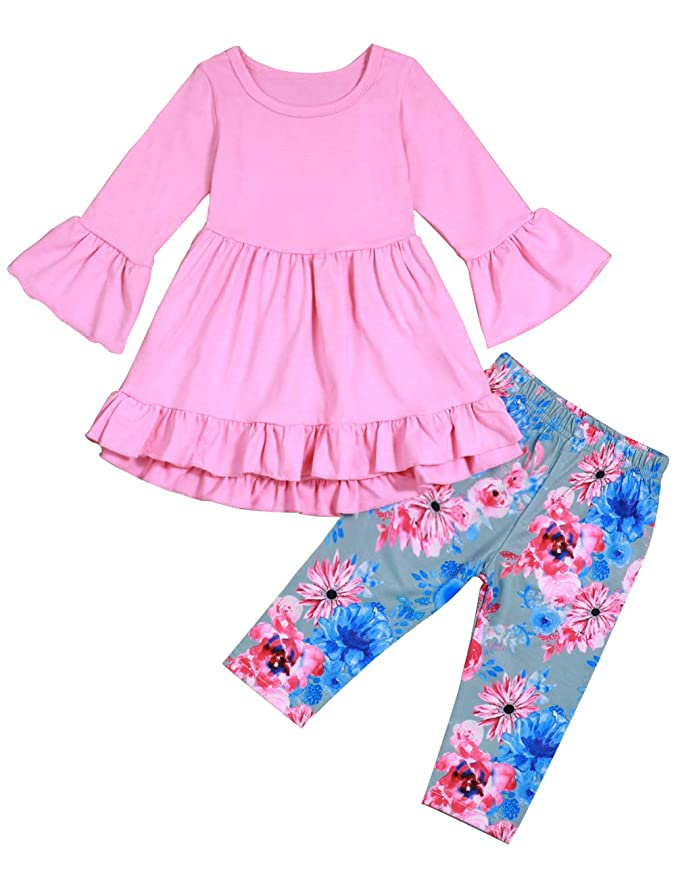 Toddler Little Girl Clothes Ruffle Flare Tunic Dress Tops and Floral Pants 2Pcs Outfit Set