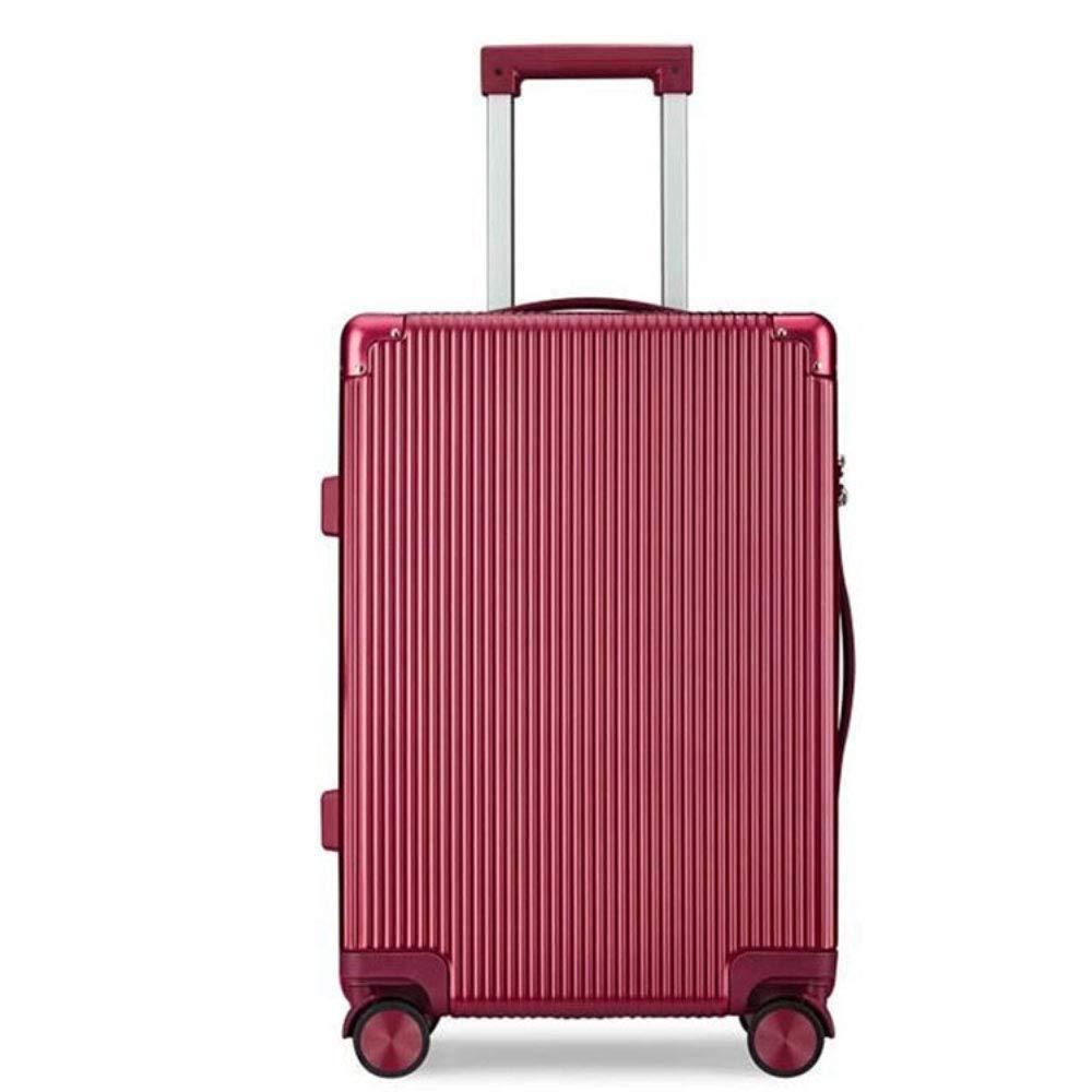 トロリーケース20/24インチ傷防止耐摩耗ジッパー万能ホイールスーツケース (Color : 赤, Size : 20 inches)   B07QXK1V35