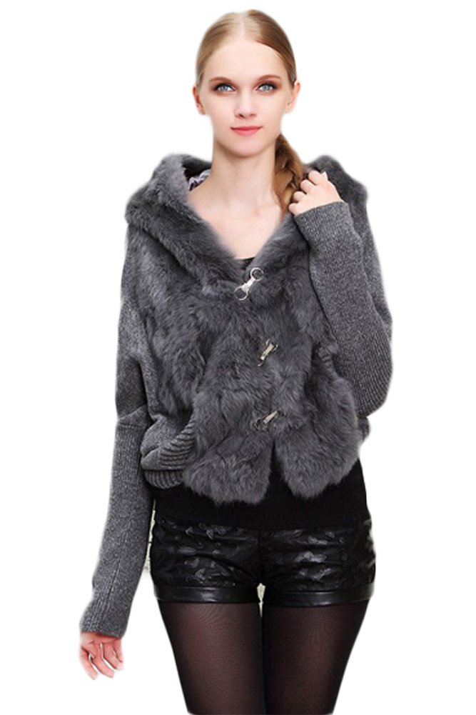 Queenshiny Women's 100% Real Rabbit Fur Knitted Bat Sweater with Hoodie-Gray-S(4-6)