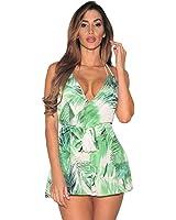 4451db03015a Sunward Women s Sexy Leaf Print Bandage Backless Short Romper Playsuit  Jumpsuit