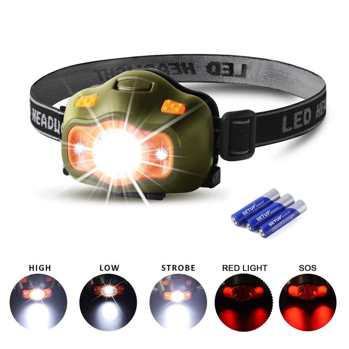 Cobiz Lampade da testa Luce Frontale LED 3 modalità 200 Lumen, Migliore per Correre, Camminare, Leggere, Campeggio,Arrampicata, Bambini, Bicicletta,Speleologia, Pesca