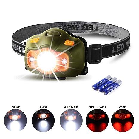 3xAAA Batterien 5 LED Kopflampe Stirnlampe 3 Leuchtmodi Headlamp inkl