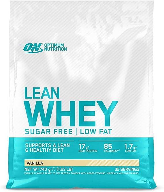 Optimum Nutrition Lean Whey, Proteínas en Polvo Sin Azúcar con Vitaminas y Minerales, Bajo en Grasas, Vainilla, 32 Porciones, 740 g, el Envase Puede ...
