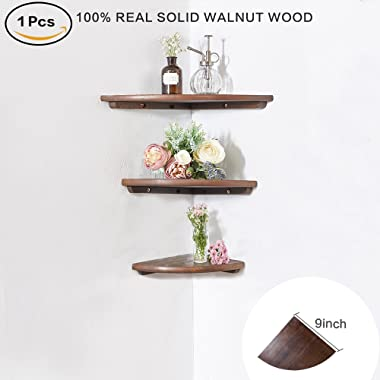 INMAN Wooden Corner Shelf, 1 Pcs Round End Hanging Wall Mount Floating Shelves Storage Shelving Table Bookshelf Drawers Display Racks Bedroom Office Home Décor Accents (Walnut, 9 )