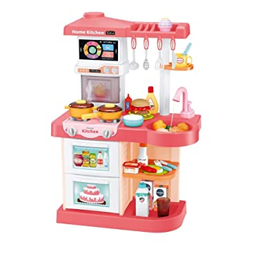 Homefami Kids Kitchen Toy Set Plastic Play Kitchen with Steam Realistic Lights and Sounds Tableware Kitchen Utensils Pot And Pan Watering (Pink): Kitchen & Dining
