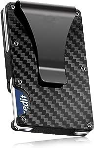 7mm Thin Metal RFID Wallet Carbon Fiber Metal Rifd Wallet Mini Money Clip Brand Credit Card ID Holder With RFID Anti-chief Card Wallet Porte Carte