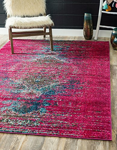 Unique Pink Color - Unique Loom Vita Collection Traditional Over-Dyed Vintage Pink Area Rug (5' 0 x 8' 0)