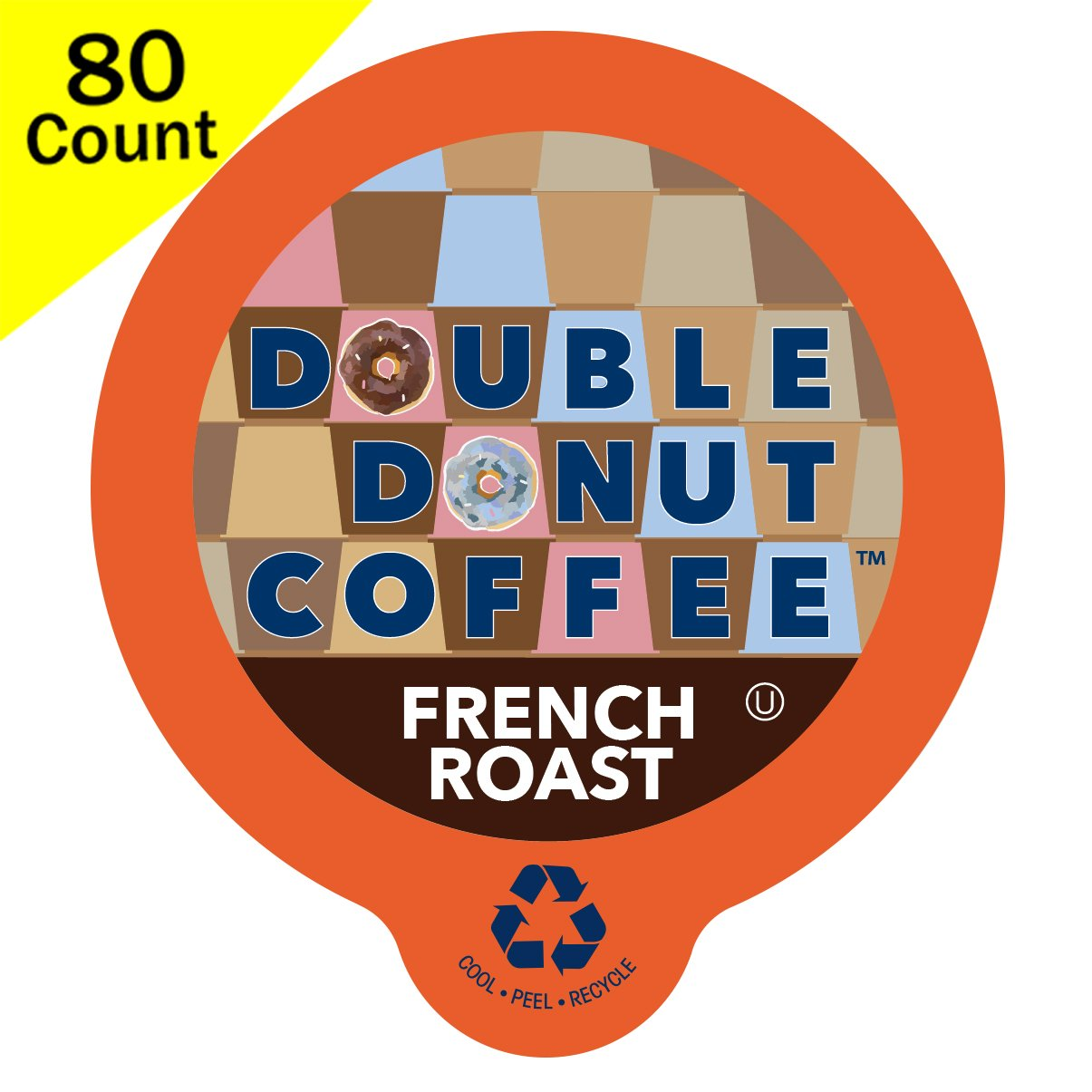 Double Donut Gourmet Dark Roast Coffee, in Recyclable Single Serve Cups for use with all Keurig K-Cups Brewers, 80 Count (French Roast) by Double Donut