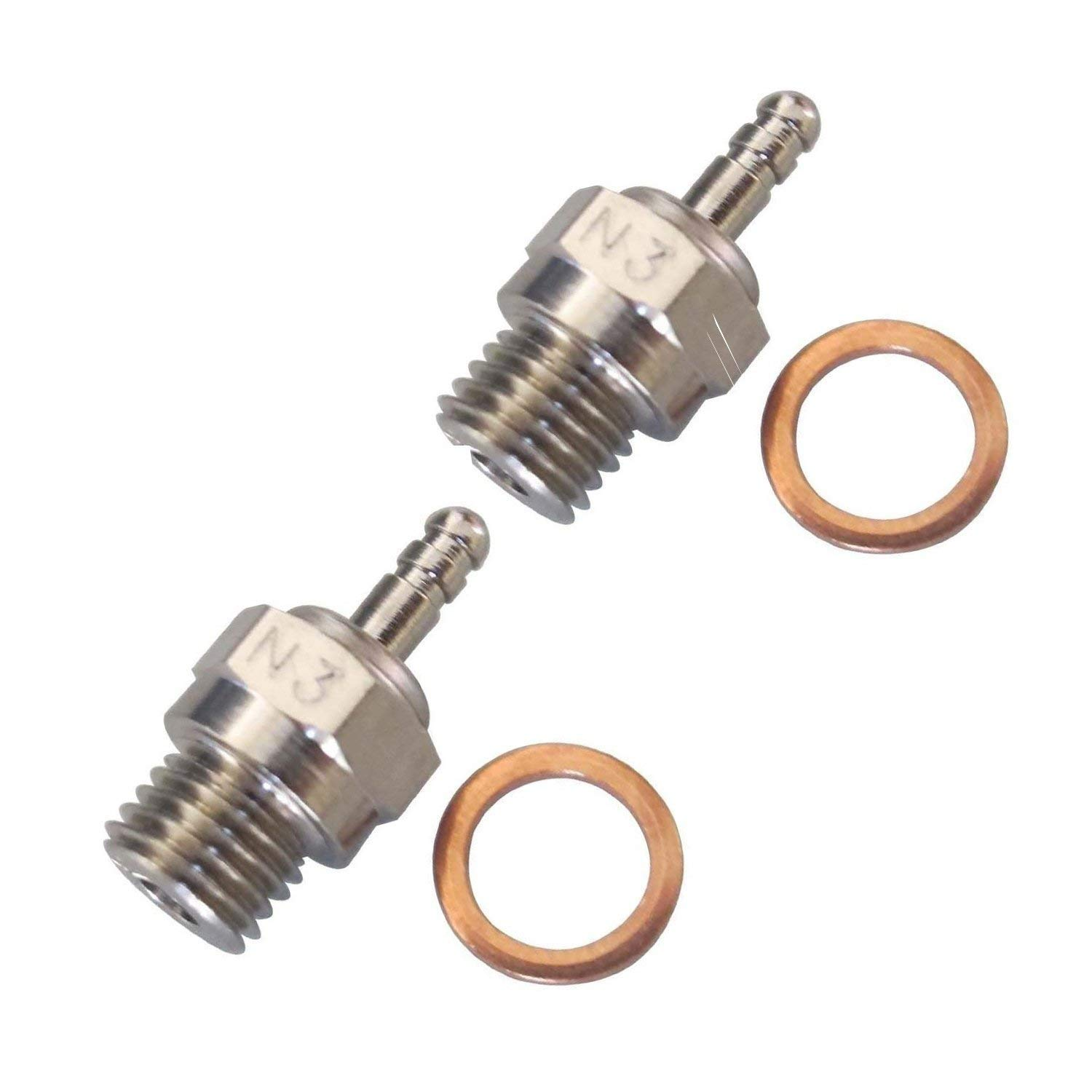 2 PCS ShareGoo Spark Glow Plug No.3 N3 Hot 70117 for RC Nitro Engines Car Truck Traxxas