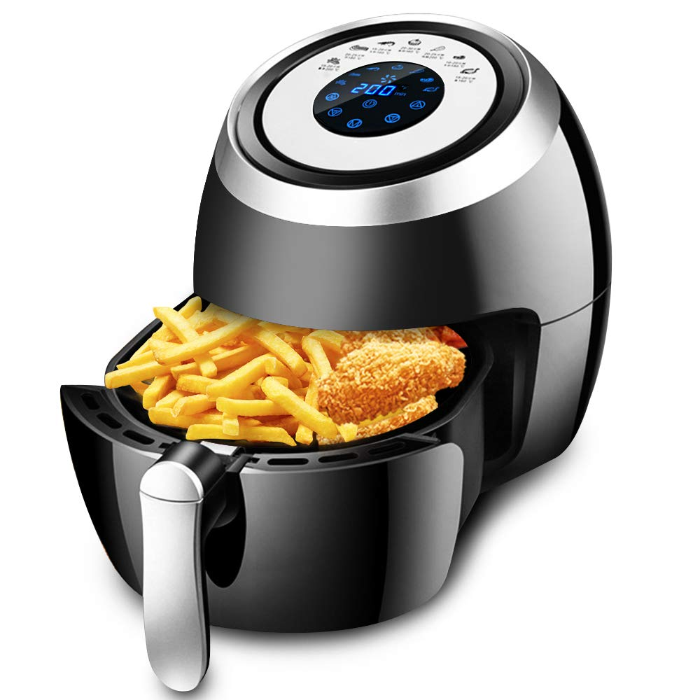 Air Fryer XL 1500W 3.8 QT Digital Oil Free Power Airfryer Oven with Detachable Basket Dual Timer Temperature Control LED Display and Cookbook 3.8 QT