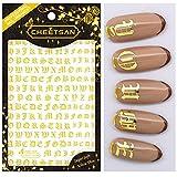 Cheetsan 2018 New Design 5 sheets OLD LETTER Series Super Thin Super Soft L 12 cm W 8.5 cm 3D Self Adhesive Salon Quality Nail Art Sticker Decals