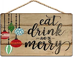 Eat Drink and Be Merry Wood Christmas Sign Christmas Decoration Rustic Christmas Wall Art Sign 8x12 in/ 20x30 cm