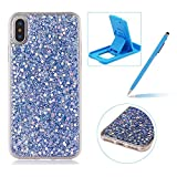 Rubber TPU Case For iPhone X,Herzzer Ultra Thin Slim Lightweight Color Changing Glittering Luxury Unique [Red Sequins] Bling Bling Shiny Sparkle Soft Silicone Gel Clear Bumper Frame Cover for iPhone X + 1 x Free Red Cellphone Kickstand + 1 x Free Claret-Red Stylus Pen