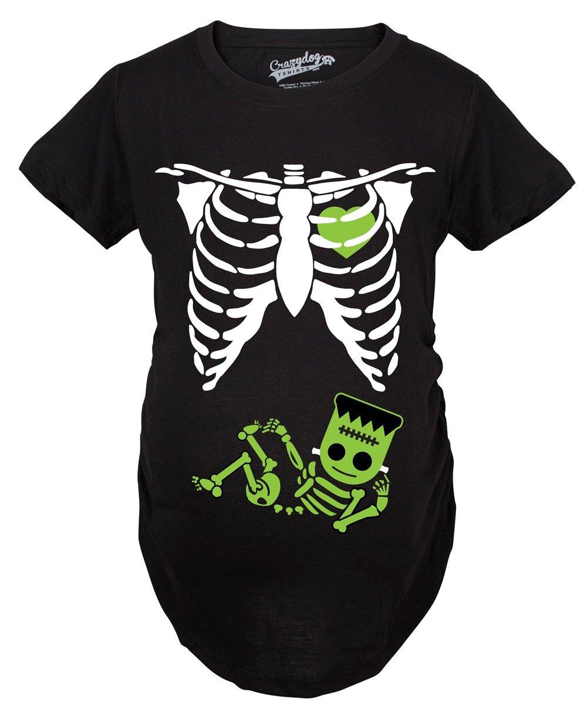 Crazy Dog T-Shirts Maternity Frankenstein Baby Bump Fall Halloween Cute Pregnancy Tshirt (Black) -XL