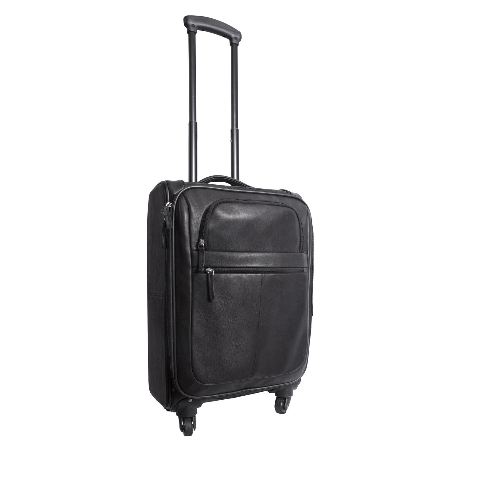 Canyon Outback Romeo Canyon 22-inch Spinner Carry-on Leather Suitcase, Black