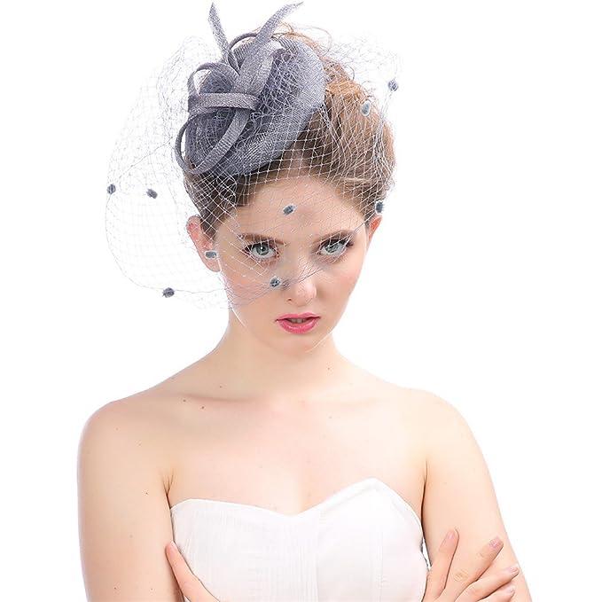 Cerchietto con Piuma Di Capelli e Cappello Partito Festa Donne Sposa Fascinator Per Accessori Di Cerimonia Nuziale