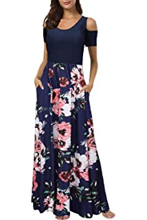 Womens Dresses Short Sleeve Cold Shoulder Pocket Floral Elegant Dress Party Holiday Beach Maxi Dress