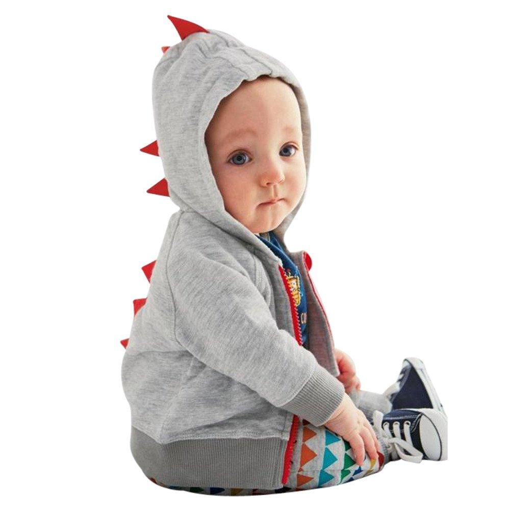Infantile Bambino Ragazzo Ragazza Dinosauro Modello Cappuccio Cerniera Top Abiti Cappotto