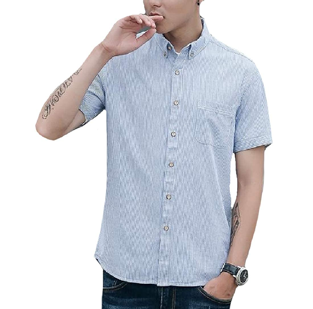Abetteric Mens Summer Single Breasted Comfy Longshirt Oversized T-Shirts