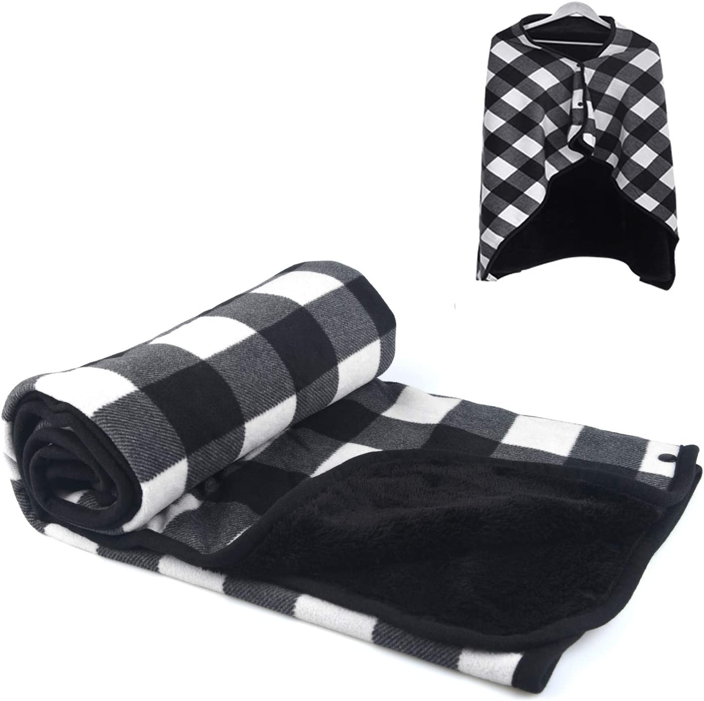 forestfish Warm Plaid Flannel Blankets Lightweight Throws for Lap Bed Sofa Office, Black-White