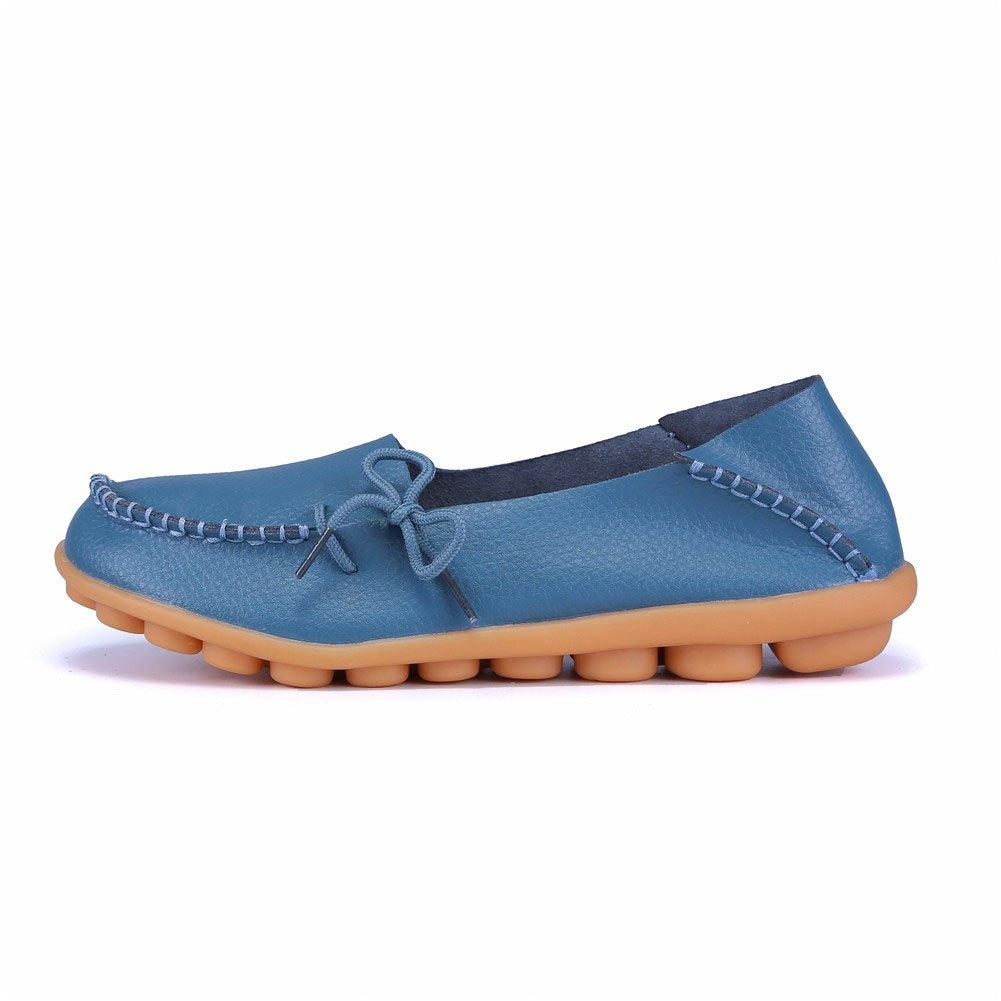 MXTGRUU Women's Leather Casual Slip-ONS Shoes B07DMKZMHP 9 B(M) US|Light Blue-2