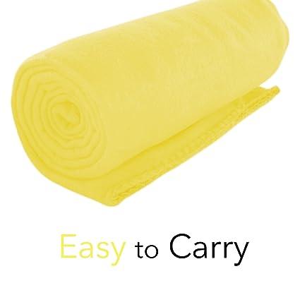 amazon com imperial home cozy 50 x 60 fleece throw blanket yellow
