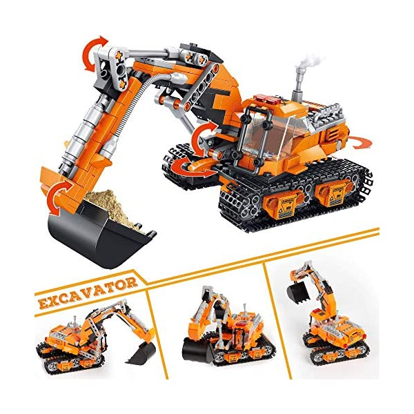 VATOS Building Sets for Kids, Building Kit for Boys 6 7 8 9 10 11 12 Years Old, 513 PCS 2 in 1 Excavator or Drilling Car…