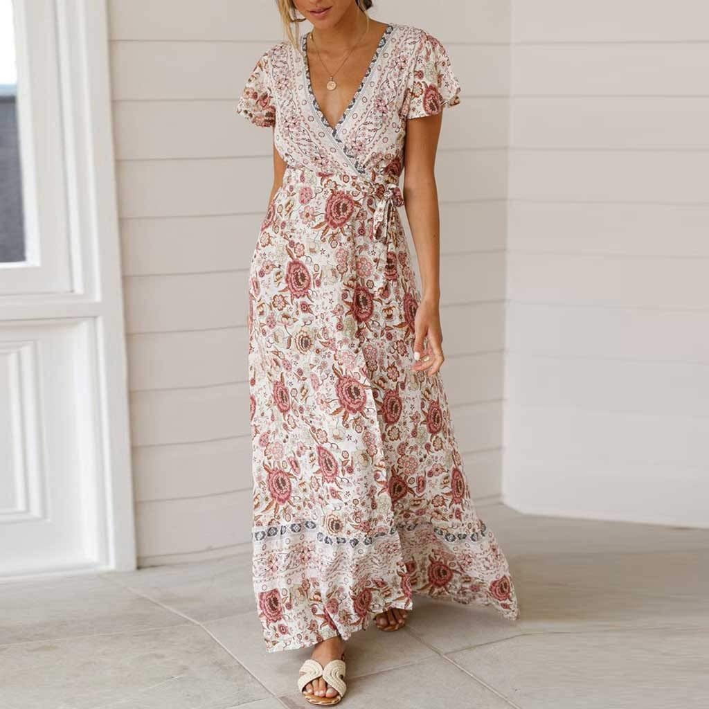 Dimanul Dress Fashion Casual Mini Dress Ladies Summer Boho V-Neck Floral Party Beach Long Dress Sundress