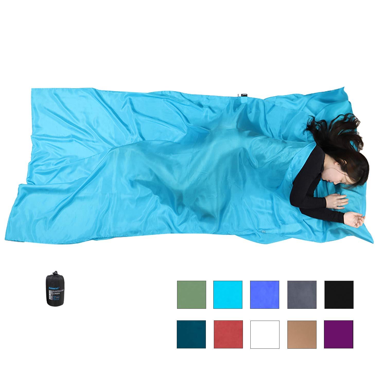 Browint Silk Sleeping Bag Liner, 100% Mulberry Silk Sleep Sheet, Sack, Extra Wide 87''x43'' & 87''x34'', Lightweight Travel Sheet for Hotel, Envelop Rectangular 73''x34'', Hooded Mummy 87''x34'' by Browint