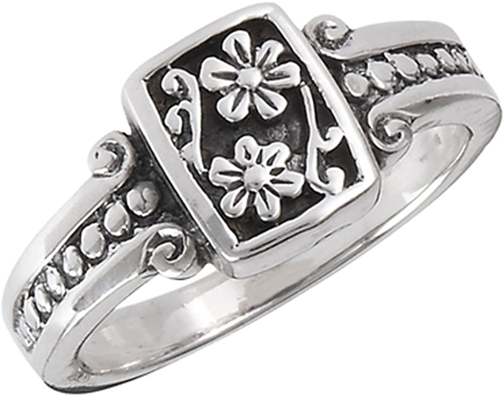 Oxidized Flower Daisy Vintage Beaded Ring .925 Sterling Silver Band Sizes 5-8