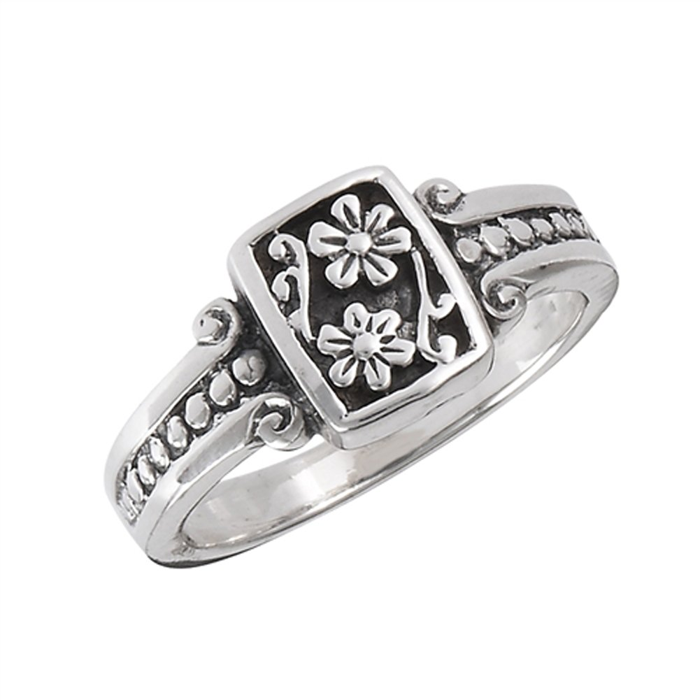Oxidized Flower Daisy Vintage Beaded Ring .925 Sterling Silver Band Size 8