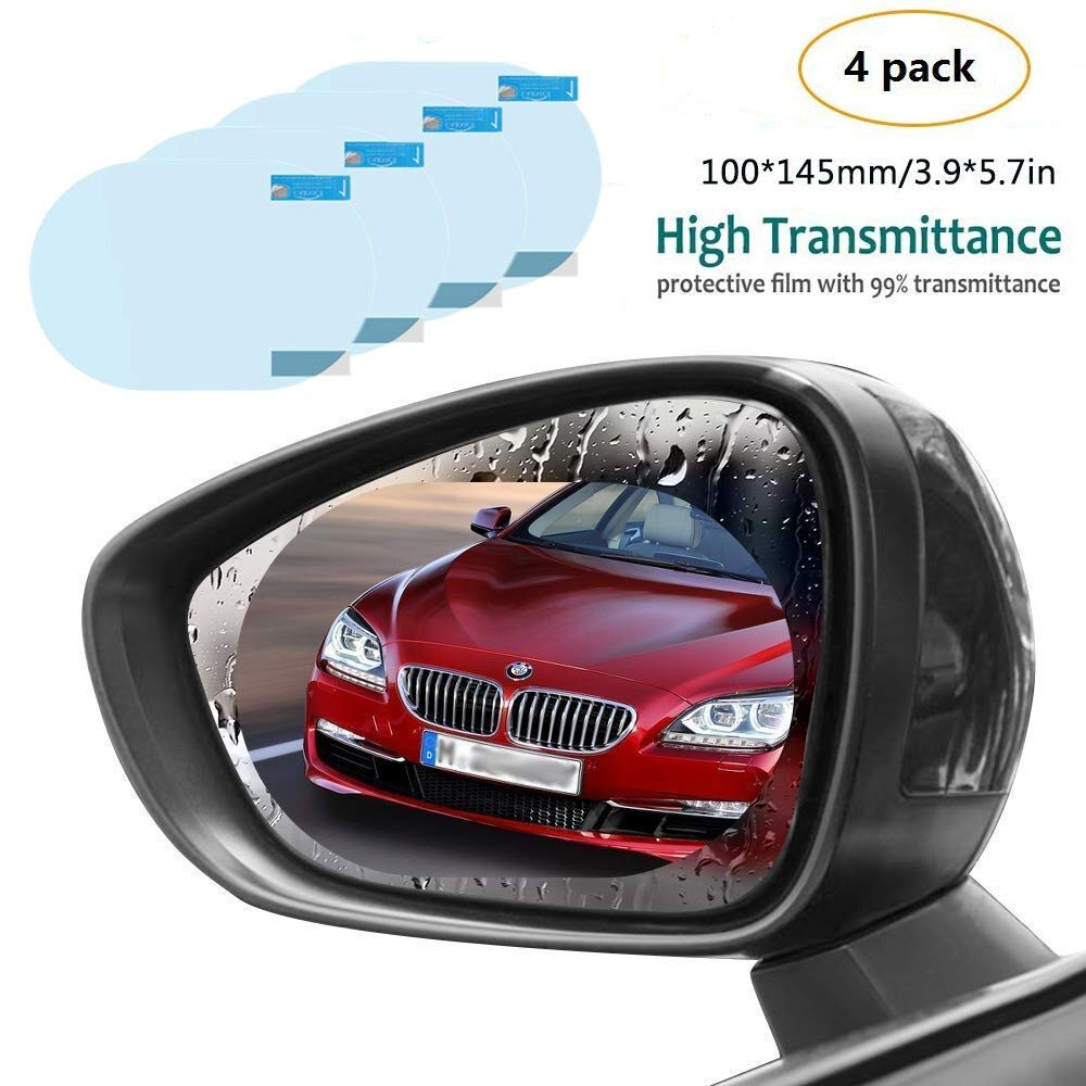Car Rearview Mirror Films- 4Pcs Universal Rainproof Car Rear View Mirror Window Clear Nano Car Anti Fog Protective Film (100x145mm) RioTechnology