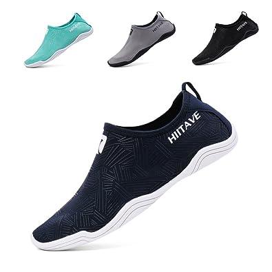 53ace05c2175 hiitave Men Women s Quick Dry Barefoot Water Shoes Slip On Beach Sport Aqua  Socks Navy 3.5