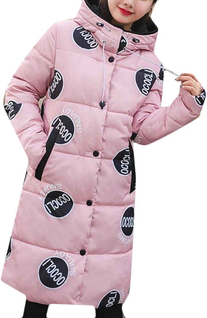 ONTBYB Womens Pattern Print Long Sleeve Winter Warm Puffer Hooded Dowm Jacket