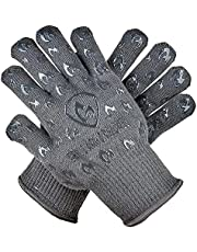 Grill Armor Oven Gloves - Extreme Heat Resistant EN407 Certified 500°C Oven Mitts for Cooking, BBQ, Grilling, Baking, Camping, Fire Pit, Cast Iron, Smoker, Pizza & More - Indoor & Outdoor - Grey
