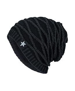 Cappelli Uomo , Yanhoo Cappello a maglia del cappello di inverno delle donne del faccia sorridente,misto lana (Formato libero, Nero)