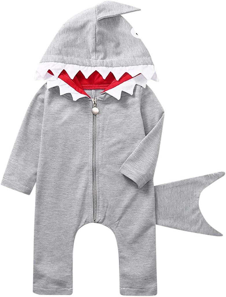 Jamicy /™ Toddler Girls Boys Cartoon Shark Costume Zipper Romper Hoodie Jumpsuit Clothes Baby Long-Sleeved Bodysuit Outfits