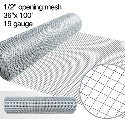 1/2 Hardware Cloth 36 x 100 19 gauge Galvanized Welded Wire Metal Mesh Roll Vegetables Garden Rabbit Fencing Snake Fence for Chicken Run Critters Gopher Racoons Opossum Rehab Cage Wire Window ()
