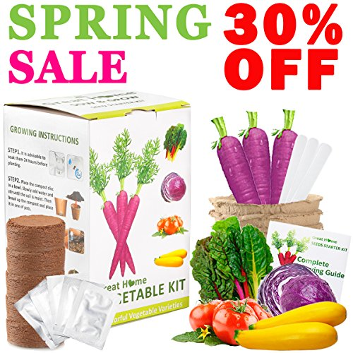 Vegetable Herb Garden Growing Seed Starter Kit Indoor Outdoor Easily Grow 5 Fresh Organic Veggie Garden kit Gift Set for Women Kids Adult with Tomatoes, Purple Carrot, Rainbow Chard, Brussels Sprouts (Tomato Seed Starter Kit)