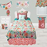 Cotton Tale Designs 100% Cotton Colorful Flower Contemporary Fun Bright Multi Color Red, Pink, Orange, Turquoise Blue, Floral & Polka Dots/Spots 5 Piece Twin Reversible Quilt Bedding Set, Lizzie