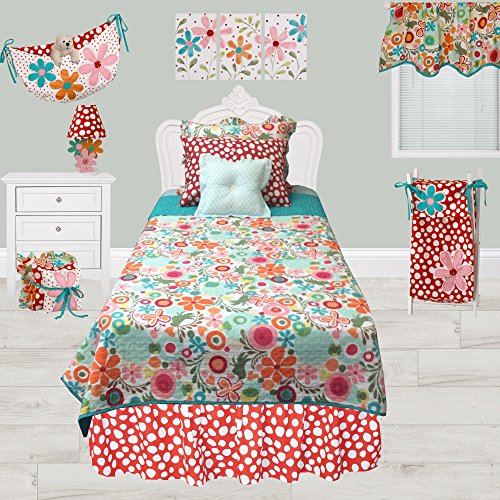 - Cotton Tale Designs 100% Cotton Colorful Flower Contemporary Fun Bright Multi Color Red, Pink, Orange, Turquoise Blue, Floral & Polka Dots/Spots 5 Piece Twin Reversible Quilt Bedding Set, Lizzie