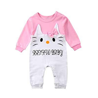 dfd0e9749 ABEE Newborn Toddler Baby Girls Long Sleeve Pink Bodysuit Romper Clothes  Outfits - Looks Like Cute