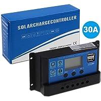 PWM Regulador de panel solar 30A 12V-24V Auto Dual USB Solar Controlador de carga Negro