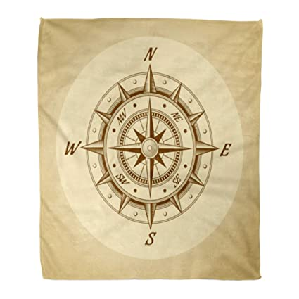 Amazon com: Emvency Flannel Throw Blanket Brown Map Wind Rose in Old