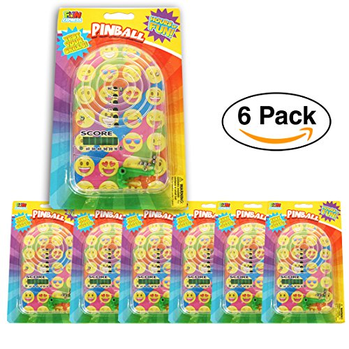 - 6 Pack- Emoji Handheld Pinball Classic Games for Party Favors / Prize