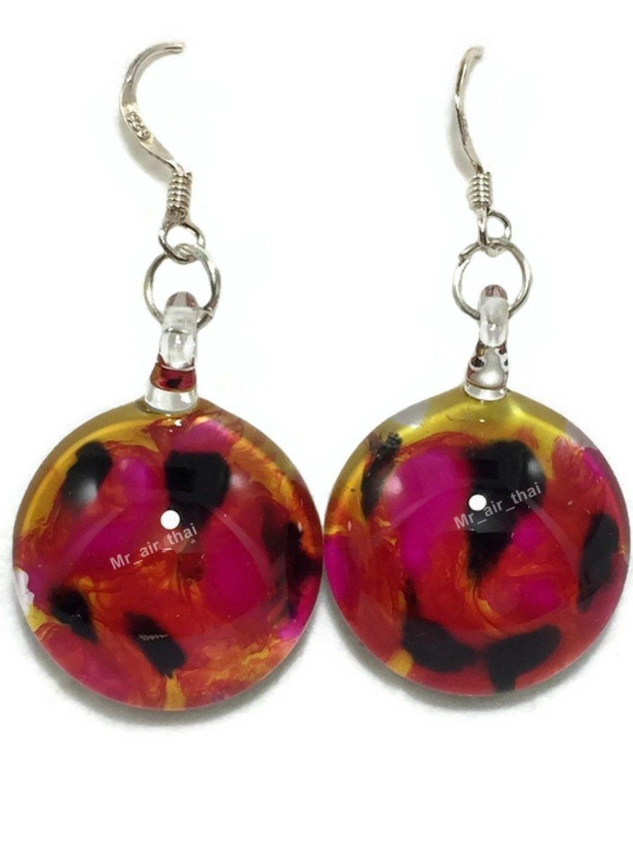 Sterling Earring Hand Blown Red Sphere Crystal Dangle Earriing Fashion jewelry Silver 925 E1