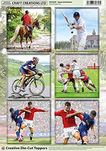 Craft Creations Creative Die-Cut Card Toppers - CDT023P Sports And Pastimes - Horse Riding, Cricket, Cycling, Rugby, Football - A4 210x297mm 250gsm 300mic - For Birthday, Thank You, Father's Day, etc. Father's Day Craft Creations Ltd