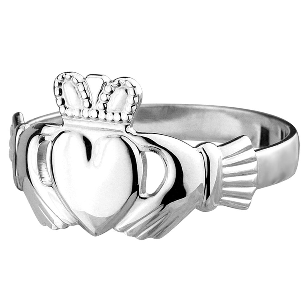 Silver Men's Claddagh Ring Standard Made in Ireland Size 11.5
